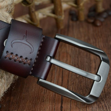 Vintage style pin buckle cow genuine leather belts for men 130cm high quality mens belt cinturones hombre free shipping