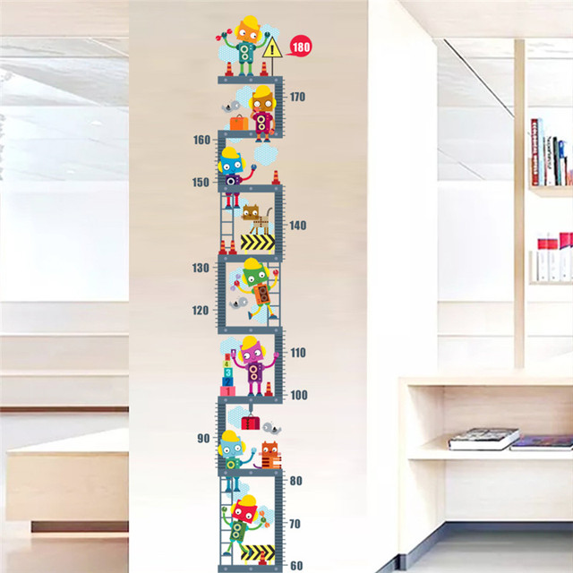 Funny Robots Growth Chart For Kids Bedroom Decorations Wall Stickers