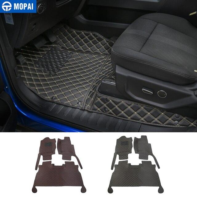 MOPAI Auto Innen Zubehör Leder Fußmatten Fuß Pads Kit Dekoration Abdeckung Für Ford F150 2015 Up Auto Styling
