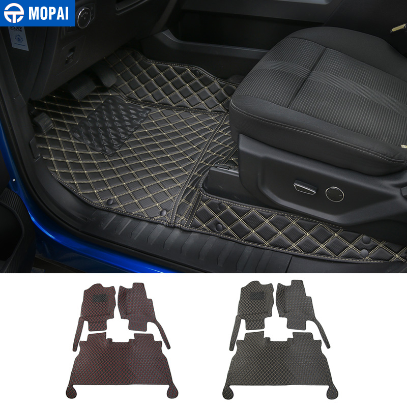 MOPAI Car Interior Accessories Leather Floor Mats Foot Pads Kit Decoration Cover For Ford F150 2015 Up Car Styling цена