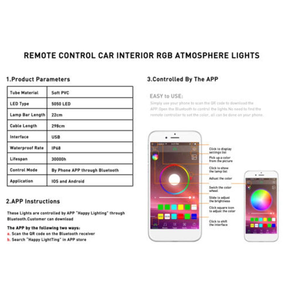 Атмосфера светильника 12 Светодиодный Светодиодные ленты салона автомобиля неоновые для внутреннего оформления автомобиля многоцветный музыка лампы