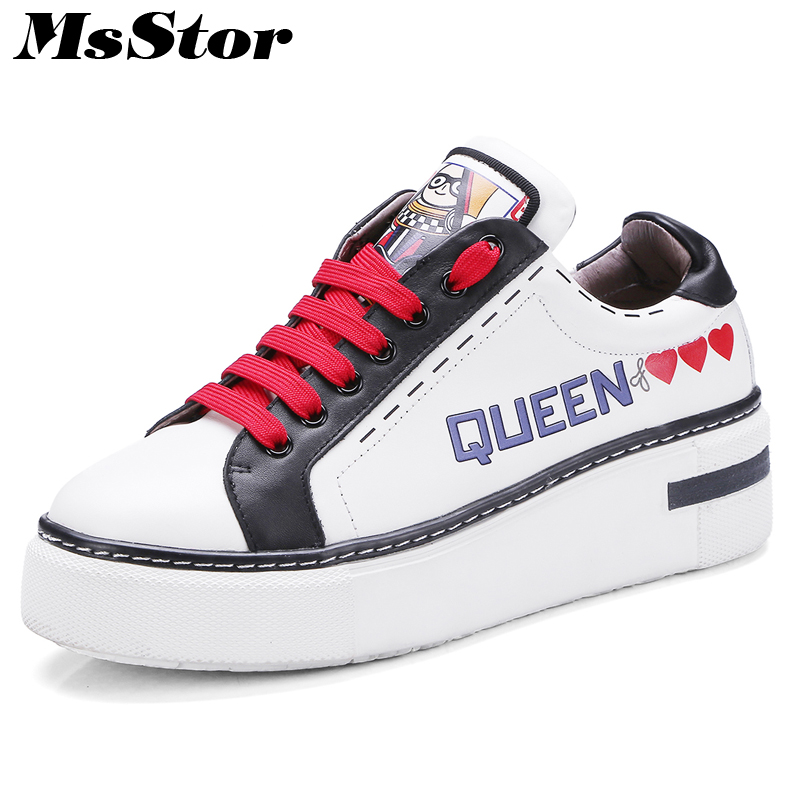 MsStor Round Toe Mixed Colors Women Flats Casual Fashion Ladies Flat Shoes 2018 Spring Cross Tied Letter Women's Flat Shoes
