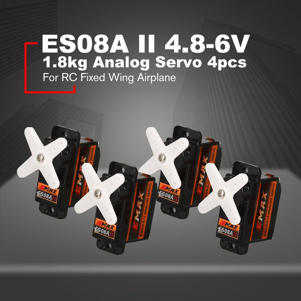 4PCS EMAX Analog Plastic Gear Servo ES08A II 4.8V-6V 1.8kg 0.12/0.10s/60 Degree for RC FPV Fixed Wing Airplane Copter4PCS EMAX Analog Plastic Gear Servo ES08A II 4.8V-6V 1.8kg 0.12/0.10s/60 Degree for RC FPV Fixed Wing Airplane Copter