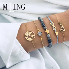MLING 5 Pcs/Set Heart Infinite Character World Map Letter Crystal Bracelet For Women Multilayer Female Party Jewelry