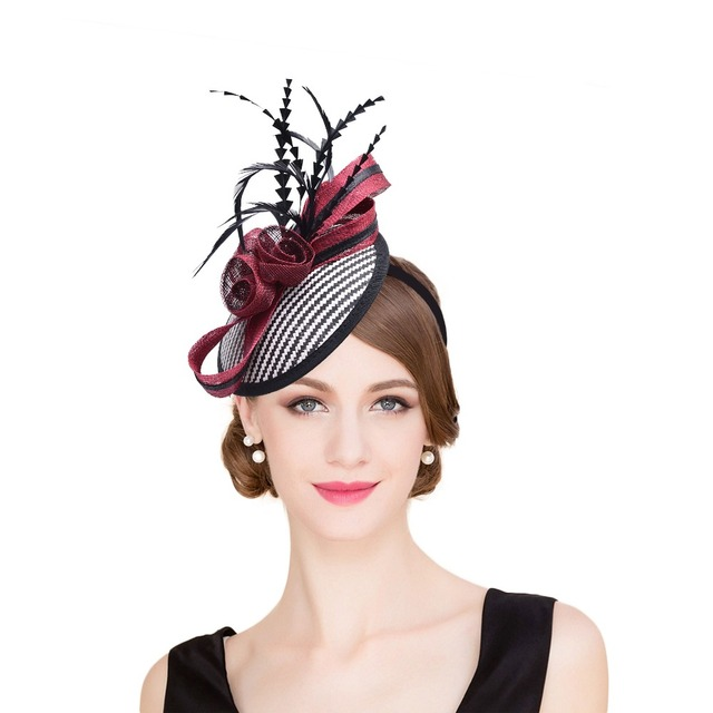 bc8343fd0ae Women Sinamay Fascinator Hats Black Feather Bow Kentucky Derby Wedding  Cocktail Church Sinamay Headbands Women Headwear