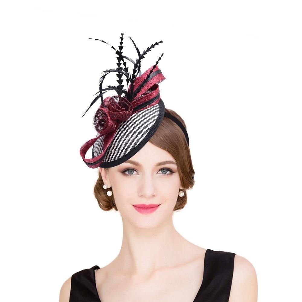 Women Sinamay Fascinator Hats Black Feather Bow Kentucky Derby Wedding Cocktail Church Sinamay Headbands Women   Headwear   T221