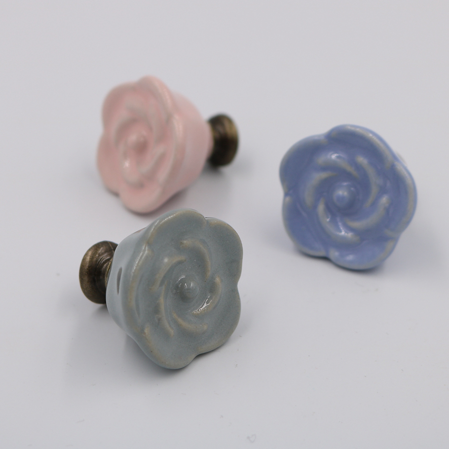 Ceramic Kitchen Cabinet Handles Drawer Pull Knobs Antique: Ceramic Rose Cabinet Knobs,drawer Pulls & Handles,vintage
