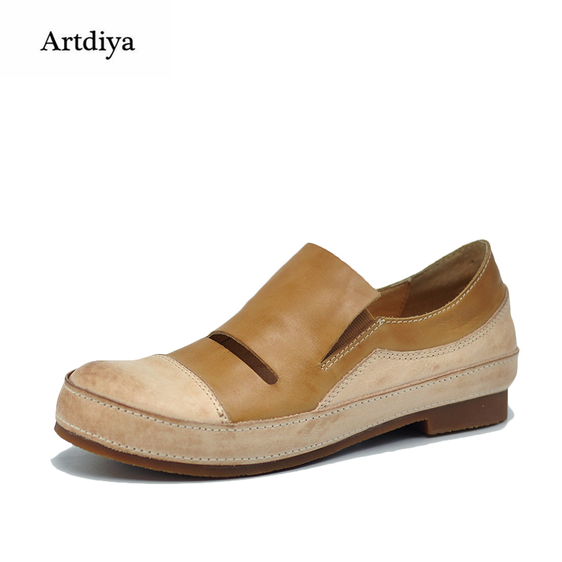 Artdiya Original 2018 Spring Retro Deep-Mouthed Women Shoes Flat Comfortable Soft Sole Handmade Genuine Leather Shoes 2158-4 artdiya 2018 spring new women s shoes genuine leather handmade retro elastic band rubber flat shoes b292 2