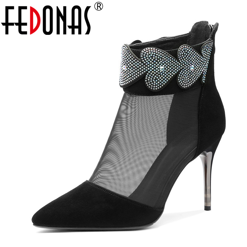 Stiefeletten Schuhe Frau 1 Nacht Prom Schaffell Schwarzes Frauen Mesh Sommer Club Heels Fedonas Zipper High Neue Spitz 2019 Party Fgv6Og