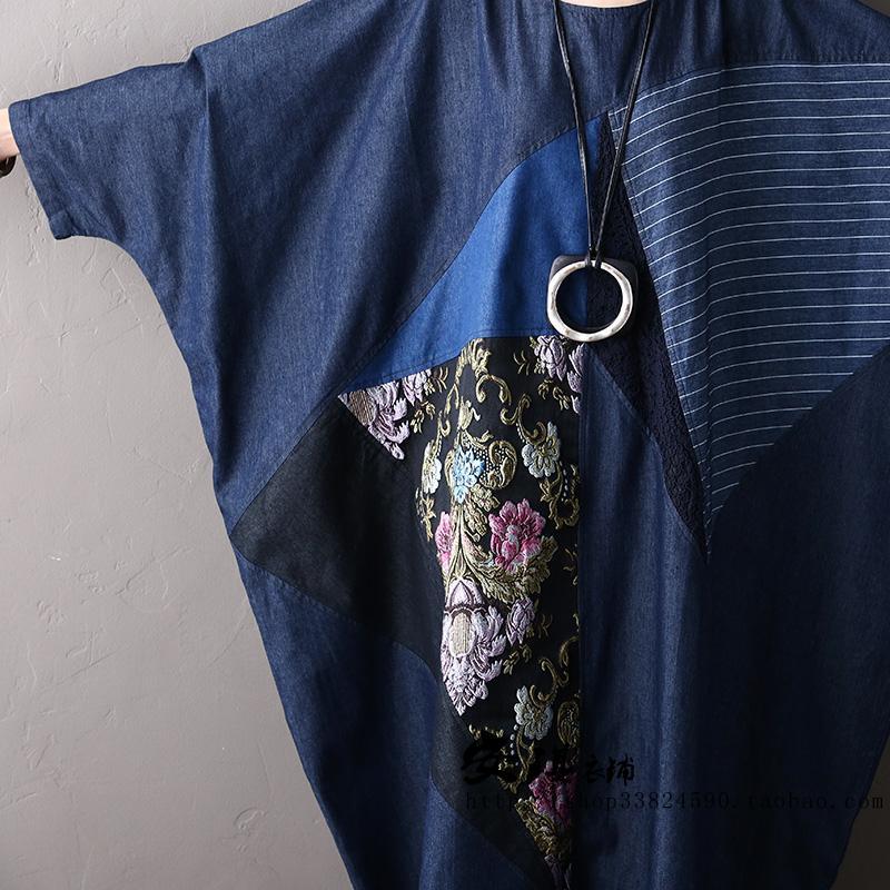 Brodé Chauve Blue Nouveau Complète cou Occasionnel Denim Robe 2017 Manches Tout Plus Femmes souris Taille D'o Automne allumette La DIYEebH29W