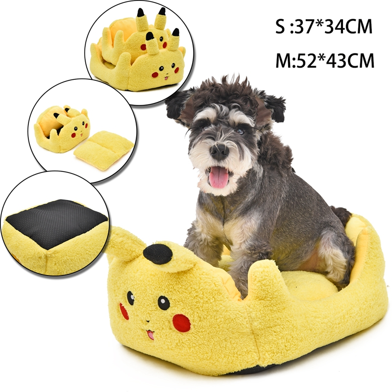 Pikachu Pet Dog Bed Pokemon Go Pet Products Soft Bed For Puppy Dog House Small Dog Kennel Soft Cat Bed Dog Supplies For Animals