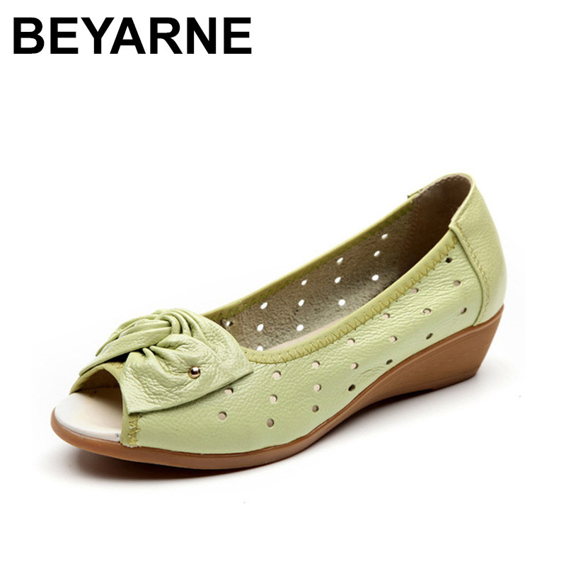 где купить BEYARNE 2018 New Spring Summer Wedges Sandals Women Bowtie Casual Women Shoes Genuine Leather Sandals Woman Fish Mouth Toe по лучшей цене