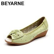BEYARNE 2019 جديد الربيع الصيف أسافين الصنادل النساء ربطة حذاء نسائي غير رسمي جلد طبيعي الصنادل امرأة فم السمكة تو