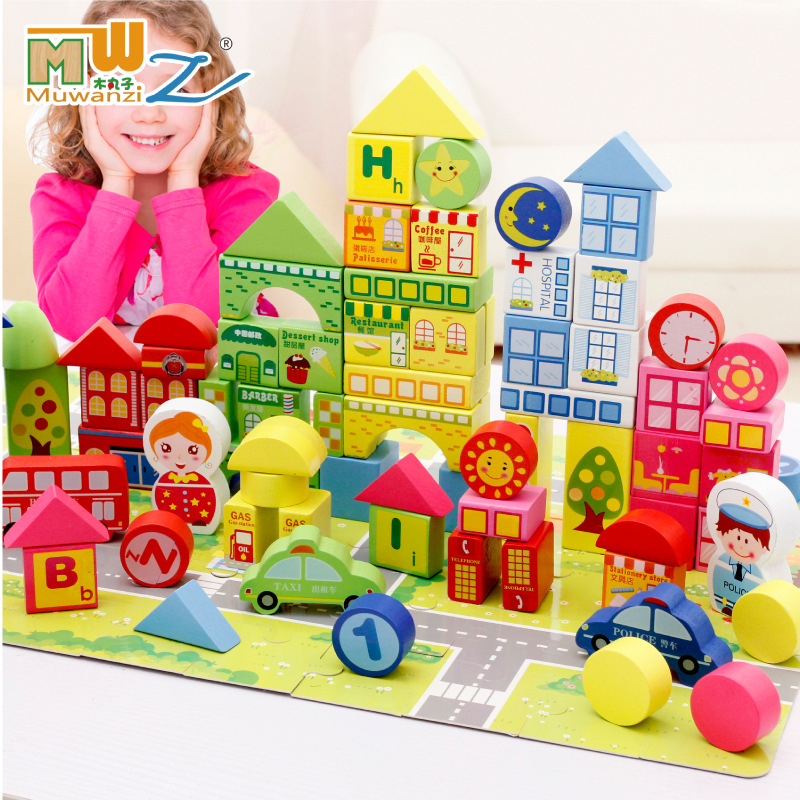 MWZ 160pcs Children Wooden Building Blocks City traffic scene Education and Learning Toys 62pcs colored wooden building blocks city traffic scene blocks kids educational toys child diy toys jm19