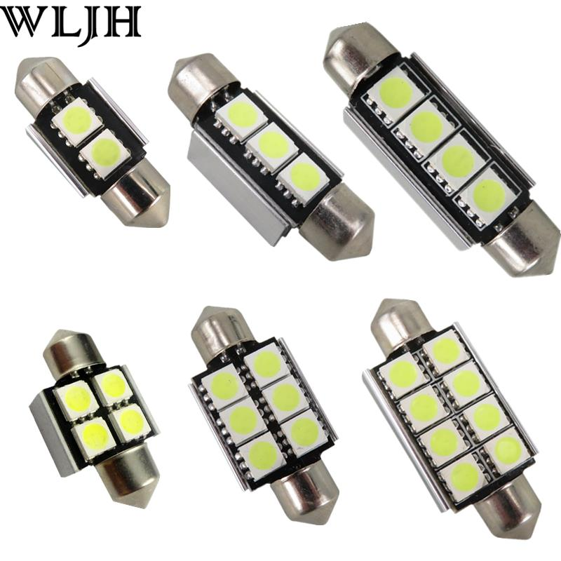 WLJH 10x Car Led Light Source 31mm 36mm 39mm 41mm C5W Led Festoon 5050 SMD Bulb License Plate Interior External Lights Canbus women martin boots 2017 autumn winter punk style shoes female genuine leather rivet retro black buckle motorcycle ankle booties