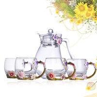 Цвет эмаль, стекло чашка кофе горшок комплекты термостойкого стекла чай с молоком чашки прозрачный холодной воды Чайник пять наборы подаро