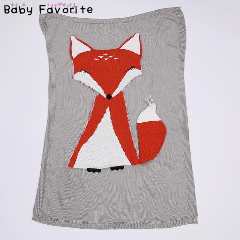 ⓪Red Fox bebé manta 70*110 cm suave lana caliente swaddle ganchillo ...
