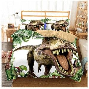 Image 1 - Jurassic Park 3D Dinosaur Bed Set Boys Bedclothes Childrens Bed Linen Set Bed Duvet Cover AU EU Single for Teens Bedding set