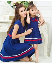 Fashion Mother Daughter Dresses Family Matching Outfits Look Mommy and Me Clothes Striped Hem Mom Mum and Girls Dress Clothing family matching mother daughter mommy and me clothes family look girls fashion clothing women summer dress vintage outfits 41