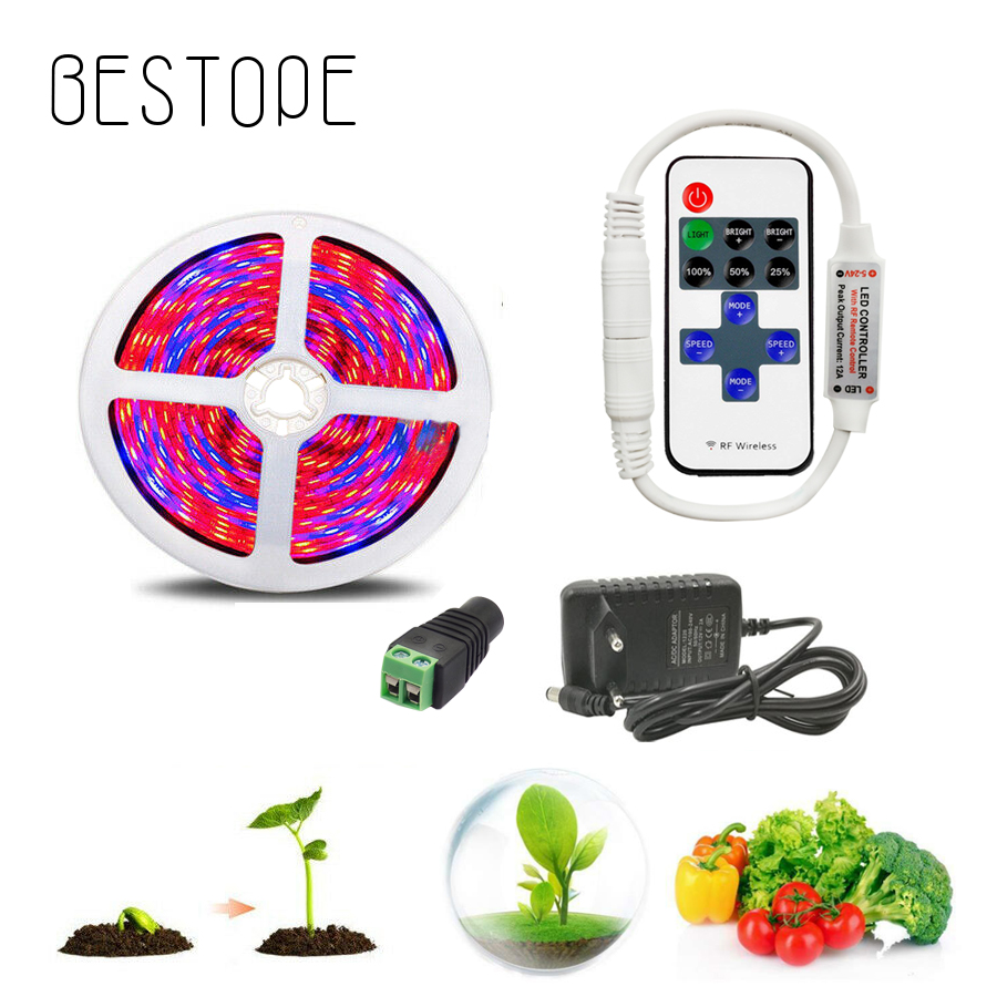 5050 LED Grow Light Grow LED Strip Light DC 12V Strip For Phyto Lamp Plants Growing Led For Plants With RF Dimming Remote