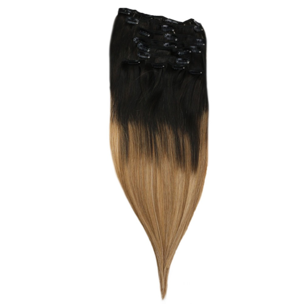 Lowest Price Ever!!! Full Shine Real Hair Clip In Extensions Color #1b/8/12 10Pcs 120g Remy Clip In Human Extensions
