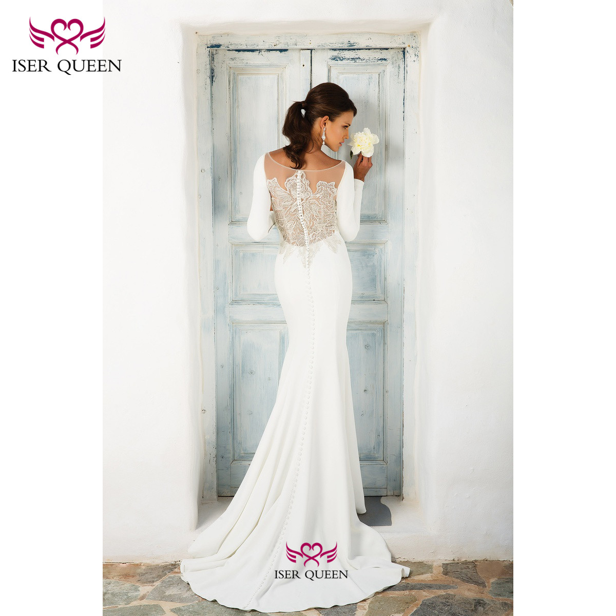 Long Sleeves Embroidered Lace Satin Mermaid Wedding Gowns Sheath Spanish Pure White Vestido 2020 Wedding Dress W0540