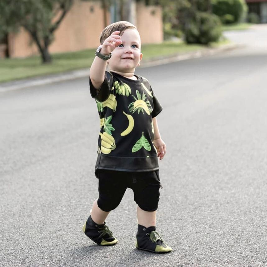 2018 cute summer short set Infant Baby Boys Banana Printed Tops T-Shirt +Zipper Shorts Set fashion Outfits boy clothes