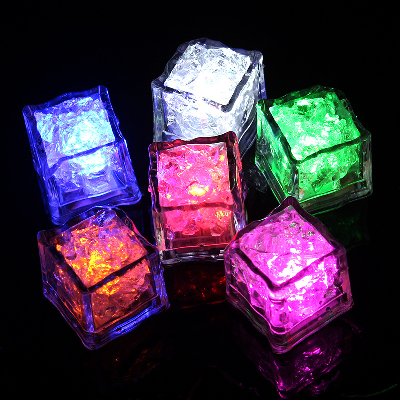 Quadruple 12pcs DIY LED Flash Ice Cubes Light Novelty Drink Cup Sensor Colorful Glowing Square Lamp Bar Club Wedding Party Decor
