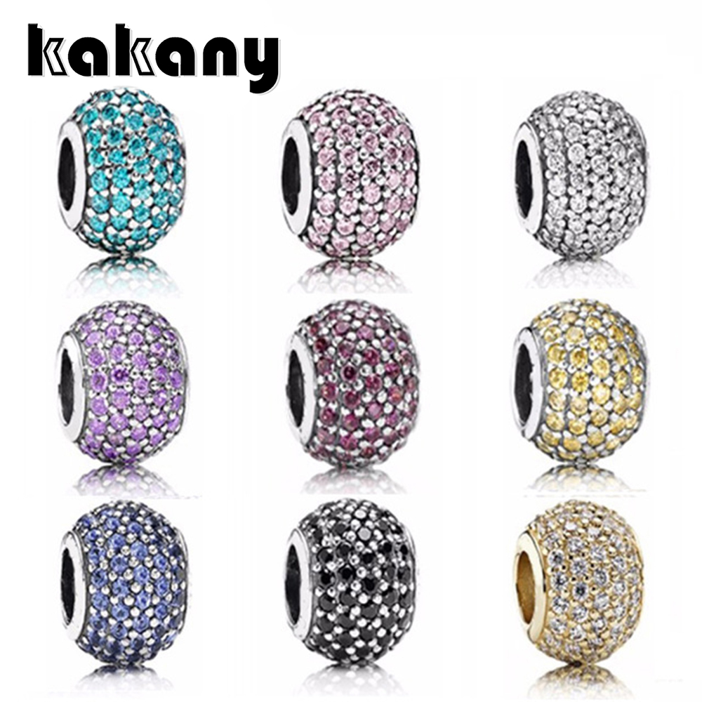 KAKANY 925 Sterling Silver Multicolor Cubic Zirconia Beads Suitable for Pandora Style Charm Bracelets Original DIY jewelry KAKANY 925 Sterling Silver Multicolor Cubic Zirconia Beads Suitable for Pandora Style Charm Bracelets Original DIY jewelry