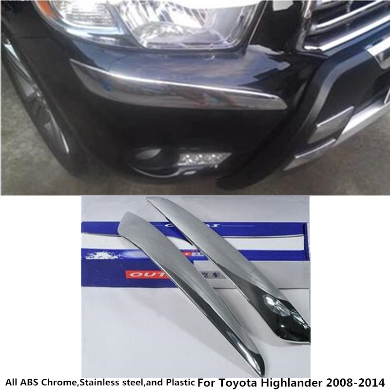 for Toyota Highlander 2008 2009 2010 2011 2012 2013 2014 front side Bumper corner protection trim stick ABS chrome cover 2pcs