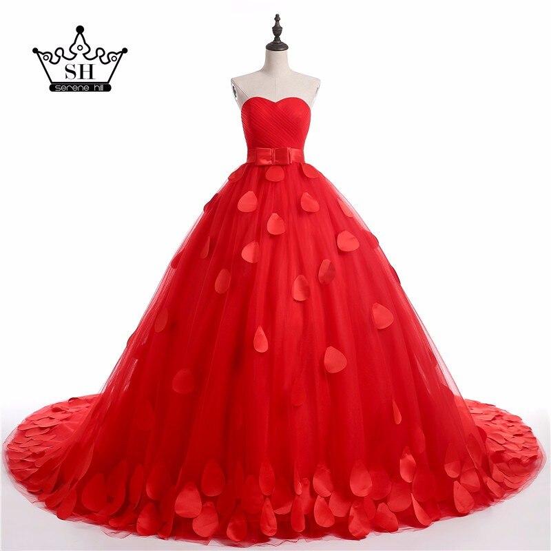 Romantic Mother Daughter Dresses Red Rose Petal Wedding Dresses 2017 New Ball Gown Arabic Vestido De Noiva for Pregnant
