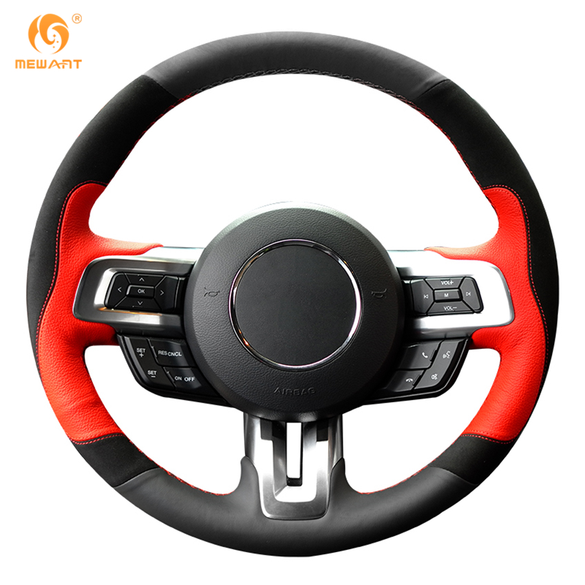 mewant black red leather black suede car steering wheel cover for ford mustang 2015 2017 mustang. Black Bedroom Furniture Sets. Home Design Ideas