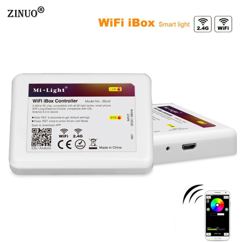 ZINUO Milight 2.4G LED WiFi iBox Remote Controller Compatible with Milight led bulbs support IOS and Android b 2 4g milight ibox1 hub rf remote wifi ler with rgb light wireless control for milight led bulbs support ios android app dc5v