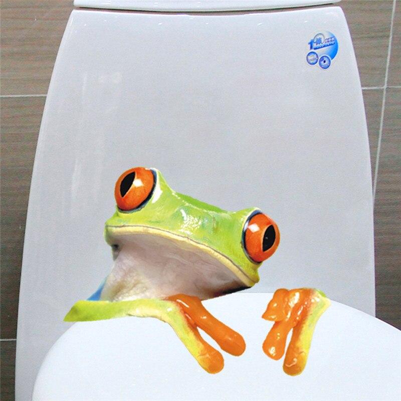 3D лягушка настенные Наклейки надписи детей дошкольного возраста спальня туалет на стены мультфильм забавные cutewall плакат росписи
