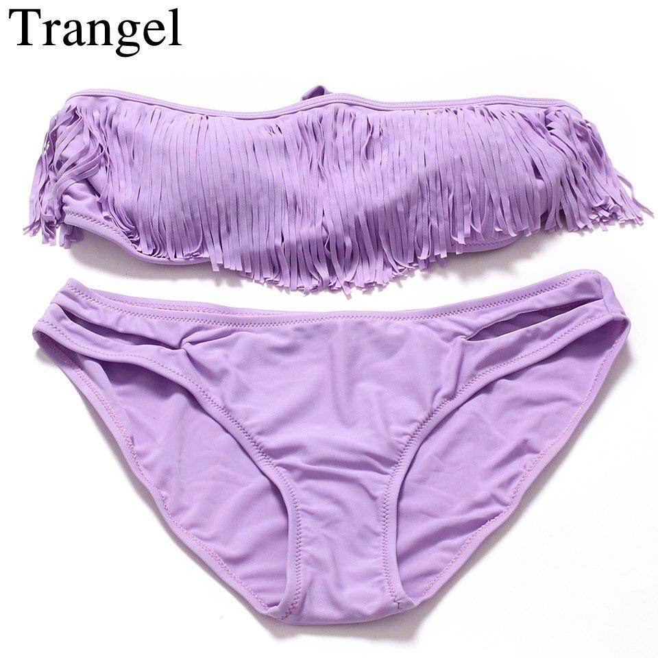 Trangel Solid Color Bikini Set Bandeau Swimwear Women Fringe Swimsuit Tassel Polyester Low Waist Padded Sexy