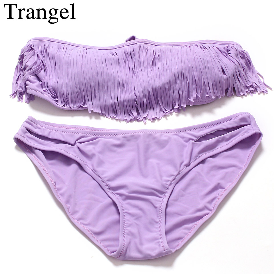 Trangel Solid Color Bikini Set Bandeau Swimwear Women Fringe Swimsuit Tassel Polyester Low Waist Padded Sexy
