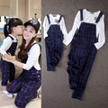 2016 new arrival England style plaid girl's overalls, mother and daughter street t shirt+overalls Suspenders casual trousers set
