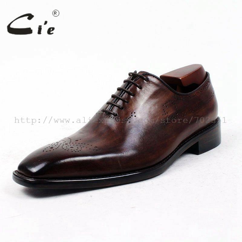Ayakk.'ten Resmi Ayakkabılar'de Cie kare düz ayak tüm kesim patina koyu kahverengi özel buzağı deri taban nefes ısmarlama deri erkek ayakkabısı el yapımı ox415'da  Grup 2