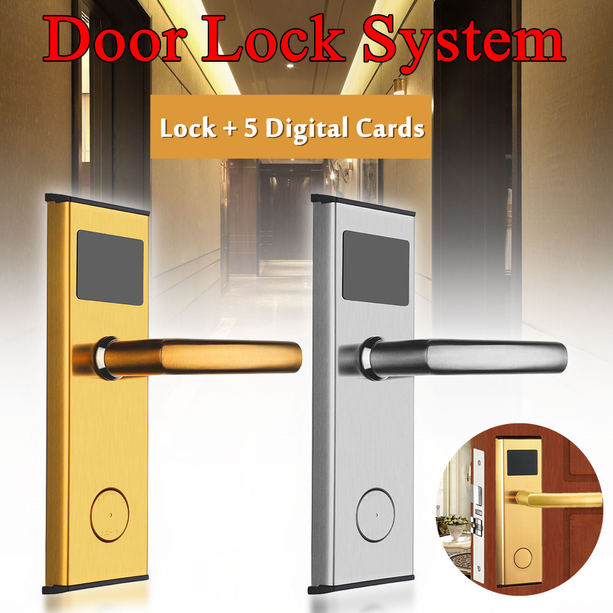 Door Lock System Digital Card Key Unlock Stainless Steel Intelligent RFID Hotel Anti- rust Anti-corrosion Stable Memory AlarmDoor Lock System Digital Card Key Unlock Stainless Steel Intelligent RFID Hotel Anti- rust Anti-corrosion Stable Memory Alarm