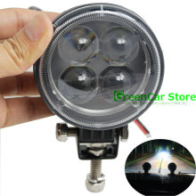 1Pcs 12W 4 LED Work Light 12V 24V IP67 Spotlight Fog Light Off Road ATV Tractor Train Bus Boat Floodlight SUV Round Work Light