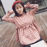 2017 New Autumn Women Shirts Ruffles Plaid Full Sleeve Stand Neck Doll Blouse Shirt Army Green