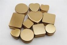 10 יח\חבילה זהב צבע Tinplate מתכת Stroage קופסות קישוטי, חתונת סוכריות, סחורות ומשונים, חמוד מתנה, ברזל חומר