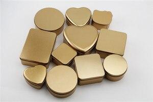 Image 1 - 10 개/몫 장식품, 웨딩 사탕, 잡다한 상품, 귀여운 선물, 철 재료에 대 한 골드 컬러 Tinplate 금속 Stroage 상자