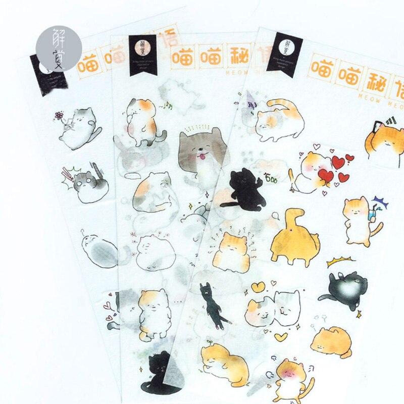 3pcs/lot kawaii Creative kitten Sticker child DIY toy Calendar Album Deco sticker scrapbooking planner sticker statione material цена 2017