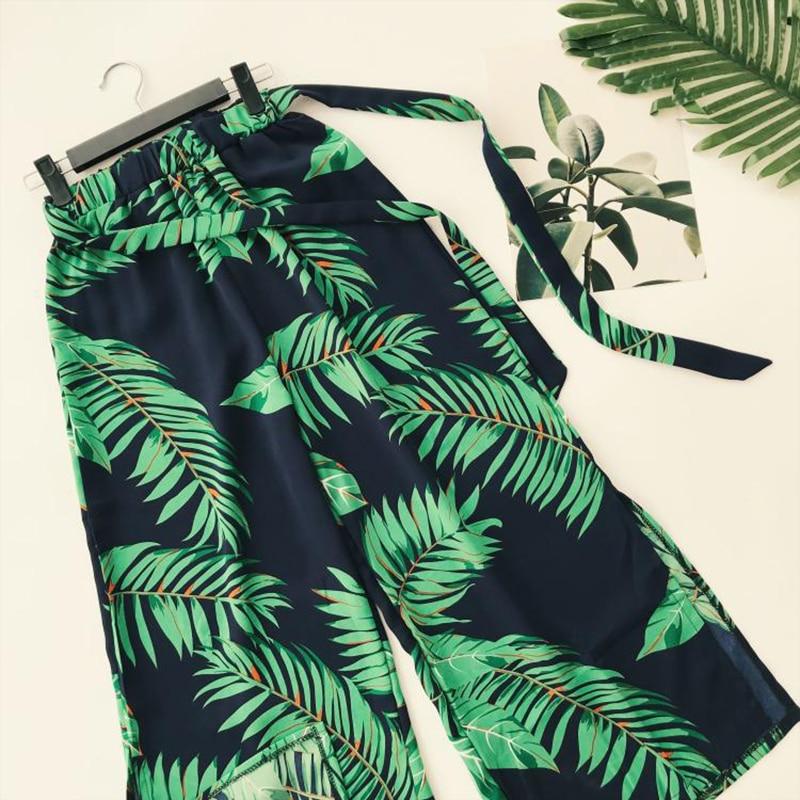 AreMoMuWha New Summer Bohemian Flamingo Print Wide Leg Pants Women Sashes Split High Waist Trouser Holiday Besch Leggings Mh050 2