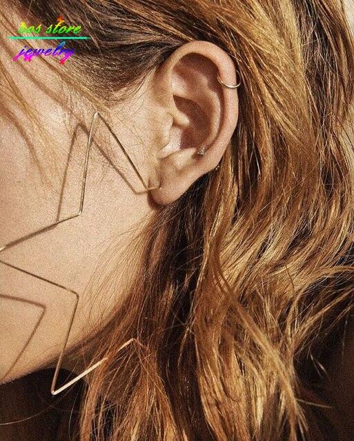 7CM/10CM Unique Rock Gold/Silver Plated Star Statement Hoop Earrings For Women Oversized Earrings Bijoux