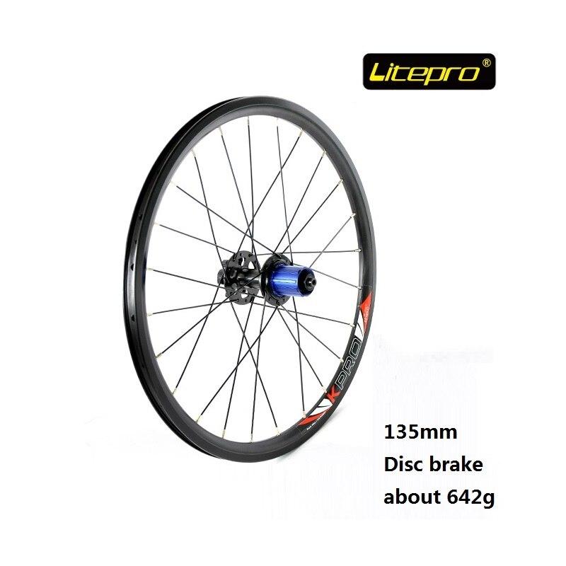 все цены на Litepro NEW 20-Inch 24H Folding Bicycle Disc Brake Wheel set 100-135mm Rear Wheel Bike Modified Cycling refiting Accessory онлайн
