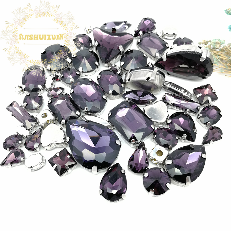 58pcs 10shapes 25sizes Mix Deep Purple shape and sizes Glass Crystal rhinestones silvery bottom DIY Clothing accessories