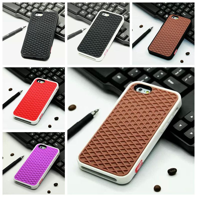 2016 Luxury Brand Waffle Soft Silicone Colorful Shoe Sole Back Biscuit Cover Phone Case For iPhone 4 4g 4s SE 5g 5s 6 6S 6 Plus