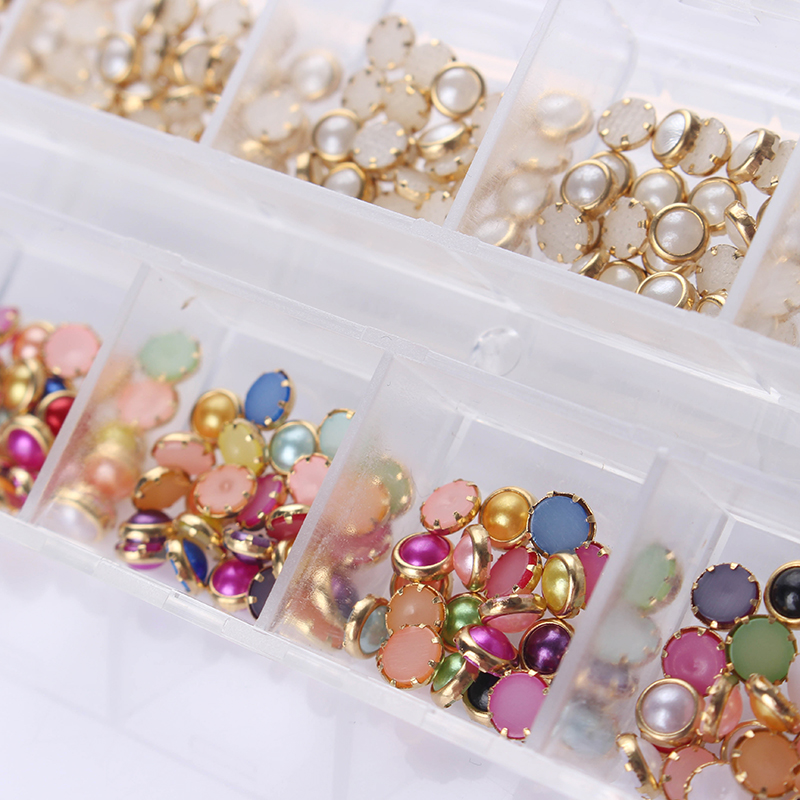 1 Box 4mm Colorful White Beads Rhinestone 3D Nail As